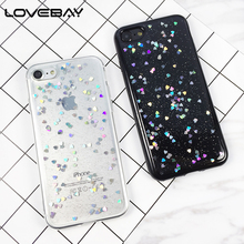 lovebay Phone Case For iPhone 8 7 6 6s Plus 5 5s SE Fashion Bling Glitter Love Heart Shining Powder Soft Back Cover Cases