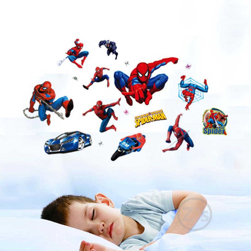 Spiderman Wall Sticker Home Decor Anime Wall Decal Home Decor Cartoon  Poster Art Mural Adhesive XY8090 Part 53