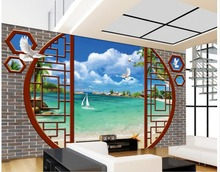 3d wallpaper for room Blue sky sea white dove tree beach wall mural photo wallpaper custom 3d wallpaper(China)
