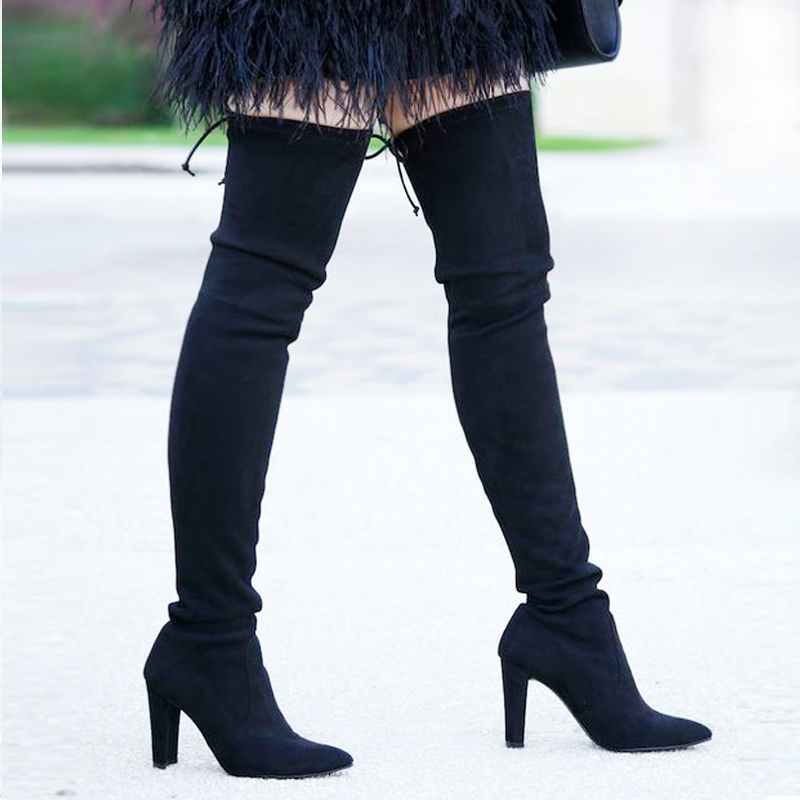 Fashion Women Boots Winter lace up Sexy Over Knee high Boots high heels slim quality thigh snow boots comfort shoes women ALF099<br>