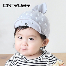 CN-RUBR Cartoon Rabbit Baby Hat Cute Boys Girls Baseball Cap Spring Summer Kids Visor Caps 0-1 Years Cotton Children Sun Hats