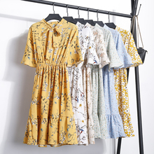 Buy NIJIUDING 2018 New Dress Summer Women Short Sleeve Office Lady Flower Print Bow Flare Sleeve Dress Chiffon Casual V-neck Dresses for $11.26 in AliExpress store