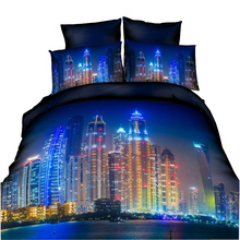 HD High Quality Printed 3D Bedding Sets King Size For USA Europe Russia 3D Duvet Cover Set Bedclothes City Night