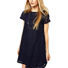 YJSFG HOUSE Casual Women Lace Short Party Club Dresses 2017 Summer O-neck Short Sleeve Loose Beach Dress Ladies Office Work Robe