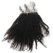 Silk Base Lace Closure Afro Kinky Curly Hair Lace Closure Brazilian Hair Pre Plucked With Baby Hair Free Part Remy CARA(China)