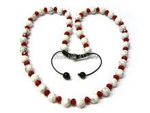 Hot sale cheap mens & women shamballa red crystal necklace with 10mm white turquoise jewelry for unisex