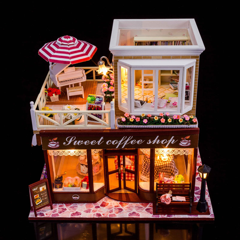 24 DIY Doll house 3D Miniature Wooden assembled+Music box+Voice-activated light Handmade kits Building model Caravan<br><br>Aliexpress