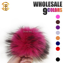 handmade raccoon fur ball 12-13cm pom poms key chain fur hat caps colours available gift for children accessory fur balls(China)