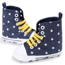 Hot New 0-18M Casual Soft Sole Baby Shoes Infant Toddler Boy Girl Anti-skid First Walkers Shoes New High Heel Lace-Up Crib Shoes(China)