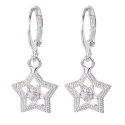 Женские серьги в форме звезды серебряного цвета