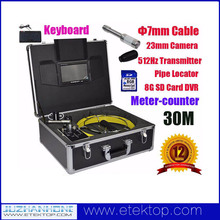 30M Pipeline inspection camera system with Pipe Locator Keyboard DVR Color LCD Meter Counter,512Hz Transmitter Snake Camera