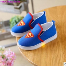 HaoChengJiaDe Children Shoes Sneakers Spiderman Casual LED Shoes Fashion Sport Breathable Toddler Kids Shoes Boys Trainers 046D(China)