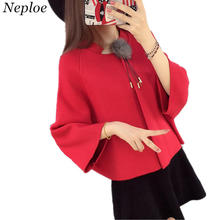 Neploe Short Sweater Cardigan Women Knitted Top Three Quarter Bat Sleeve O-neck Coat Fashion Causal Solid Cape Outerwear 33771(China)