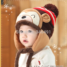 Winter Beanie Cap Kid Infant Cartoon Monkey Crochet Earflap Hat Neck Warmer(China)
