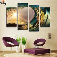 NEW! Blue Ocean Seaview Modern Wall Art Painting Canvas Printed High Quality 4 Piece Set Sea Water Painting Wall Picture F18843(China)