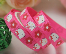 3/8'' (9mm) Ribbon Lovely printed grosgrain ribbon Pink Hello Kitty ribbon DIY accessories Hair accessories 25 yards/roll(China)
