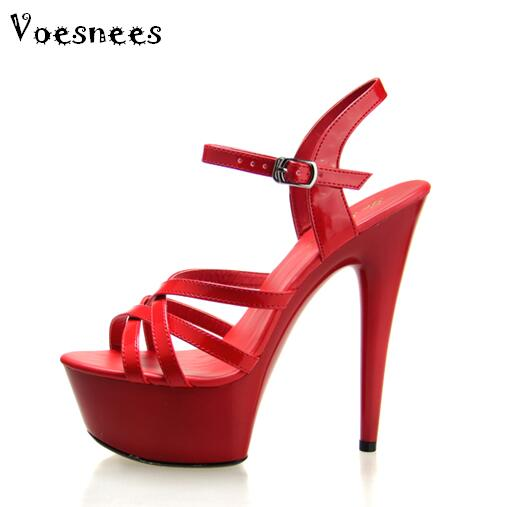 10 Color Steel Pipe Dance Shoes 2017 New high heels 13 / 15CM with Thick Bottom Strap Waterproof Table Sandals Plus Size 44<br>