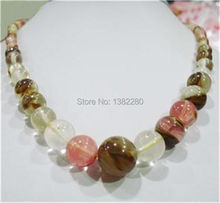 "! new arrive Faceted 6-14mm Watermelon Tourmaline Gems Round Beads Necklace 18"" fashion jewelry JT5408(China)"