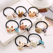Rabbit Fox Cat Bows Ring Elastic Hair Bands Headdress Hair Accessories Women Grils Cute Animal Headwear Headbands Hair Ropes(China)