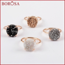 BOROSA 12mm Round Rose Gold Claw Titanium Geode Natural Quartz Stone Drusy Ring Gems Jewelry Size 6 & 7 ZG0166