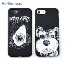 For Coque iPhone 7 Case Cute Dog Shark Soft Silicon Phone Cases for iPhone7 6S 6 Plus Cartoon Animals Schnauzer Back Cover Men(China)