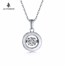 Classic Design Luxury Round Necklace 925 Sterling Silver Pendant Necklace with 0.49ct Natural Topaz Gemstone Fine Jewelry(China)