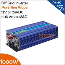 1000W Off Grid Inverter, Surge Power 2000W 12V/24VDC to 110V/220VAC Pure Sine Wave Inverter for Wiind or Solar Power System