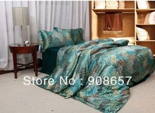luxurious imitated silk fabric girls bedding set blue phoenix feather print bed in a bag queen/full duvet covers sets bed linens
