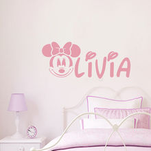 N018 Personalized Mickey Mouse Decals Girl Name Wall Decal Nursery Room Decor Free Shipping