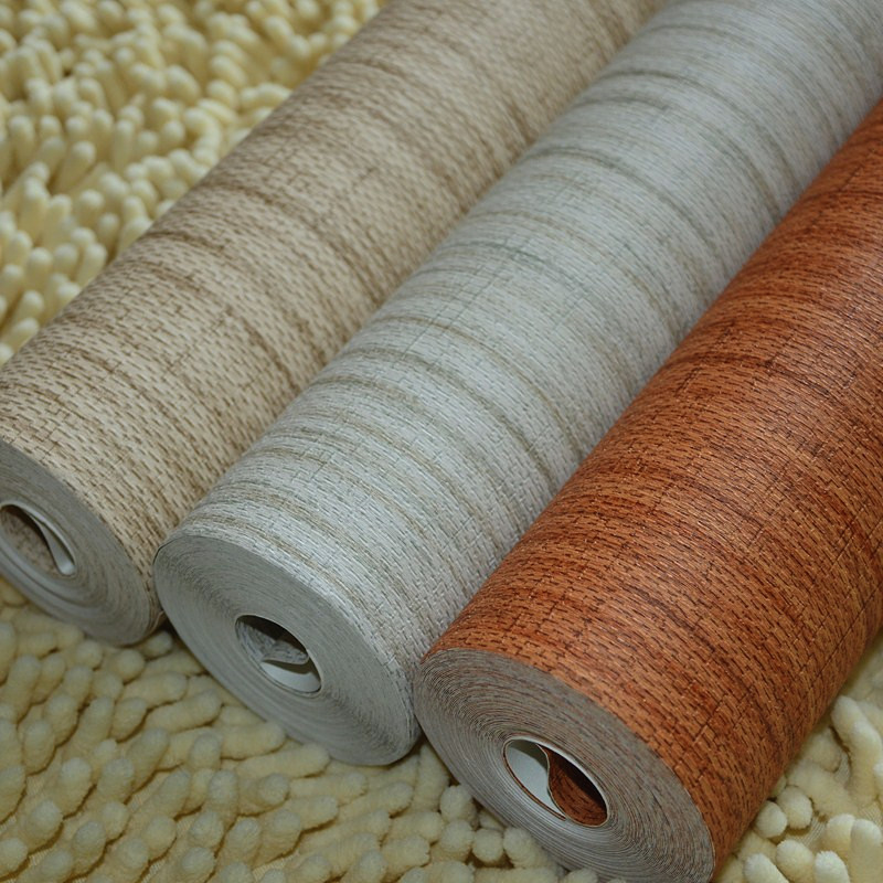 beibehang Straw solid Bamboo Effect Grass Cloth Nature Plain Taupe Brown Plain Faux Grasscloth Texture Hotel Bedroom Wallpaper<br>