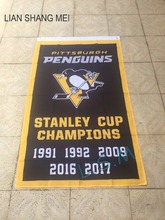 Pittsburgh Penguins 2017 Stanley Cup Champion Flag 3X5FT 150X90CM Banner brass metal holes NHL flag