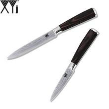 XYj Brand 2 Pcs Set 7Cr17 Stainless Steel Kitchen Knife 3.5 Inch Paring 5 Inch Utility Beauty Pattern Blade Best Cooking Knife(China)