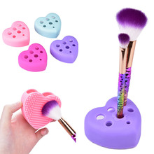 1Pcs Heart Silicone Cleaning Washing Mat Glove Scrubber Board Makeup Brushes Clean Pad Hand Washing Tools Cosmetic Brush Cleaner(China)