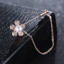 Atreus Women Crystal Link Chain Brooch Pin Flower Bow Bear Brochs Simulated pearl Jewelry Accessory Suit Hats Clips Corsages