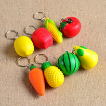 Mobile phone hanging fruit Pu foam ball creative key chains, Watermelon pear lemon pineapple carrot corn apple tomato keychains(China)