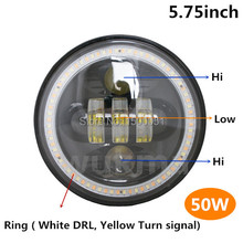 1piece Factory auto parts led harley headlights replacement, 50W 5.75 inch motorcycle headlamps for led harley headlight