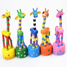 2017 New Peculiar Creative Wooden Giraffe Puppet Children Puzzle Early Childhood Education Toys Wooden Toys Will Dance