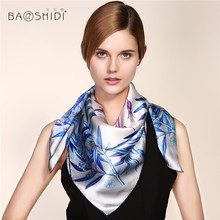 [BAOSHIDI] 16m/m thick Pure Silk Large Square Scarf, Neckerchief,Luxury Brand shawl, summer scarves women, infinity hijab lady(China)