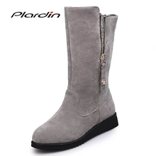 Buy plardin 2017 Winter Concise Warm Comfortable Knight boots Women Shoes Bling Metal Decoration Frosted suede Woman Zip snow boots for $17.99 in AliExpress store