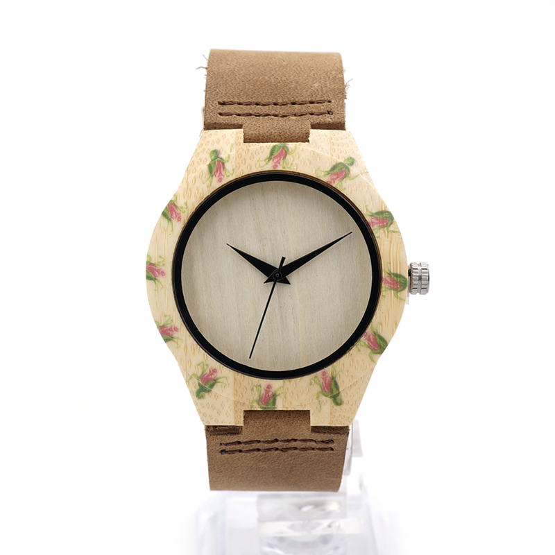 BOBO BIRD E01 Flower Printed Womens Watch Maple Wood Lady Quartz Wristwatch with Leather Strap in Gift Box as Gift Watch<br><br>Aliexpress