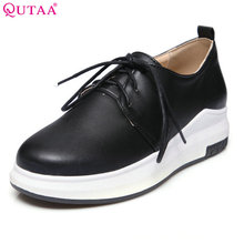 QUTAA 2017 Women Pumps Summer White Ladies Shoe Wedge Med Heel Platform Black Lace Up Woman Wedding Shoes Size 34-43