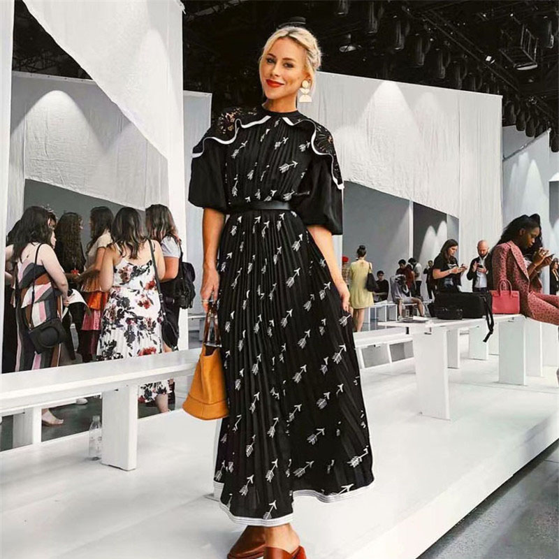 2019 New Runway Designer Elegant Spring Dress Women's Fashion Half Sleeve Lace Patchwork Ruffles Print Midi Pleated Dress Casual