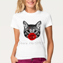 2017 Funny Red Rose Cat Head T-Shirt Summer Women/Ladies Animal Print T Shirt High Quality Harajuku Short Sleeve Tee Shirt Tops