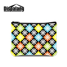 Dispalang Flower Printing Coin Bag for Girls Cute Small Zippered Coin Purse Art Wallet with Coin Pouch for Ladies Mini Coin Case
