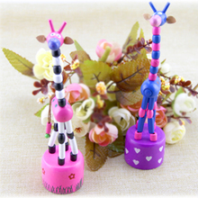 1pc New Arrival Baby Funny Wooden Toys Developmental Dancing Standing Rocking Giraffe Animal Toys Multi Color