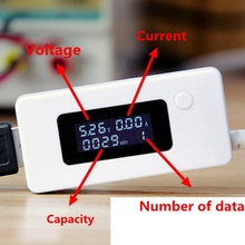 USB Charger Capacity Current Voltage Tester Meter For Cell Phone Charging Power LCD Display Volt Amp monitor for Battery