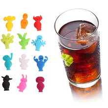 12pcs/set  Silicone Suction Cup Glass Wine Label Recognizer Glasses Marker Bottle Logo party Supplies Mobile Phone
