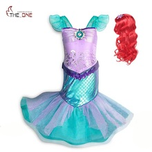 MUABABY Girl Little Mermaid Fancy Dress Kids Photography Tulle Ariel Cosplay Princess Costume Girls Christmas Party Long Gown
