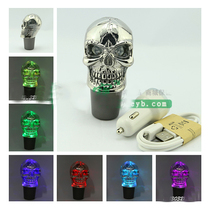 Universal Acrylic Touch Car 7 colours LED Skull Head Manual Gear Stick Shift Knob Lever Shifter