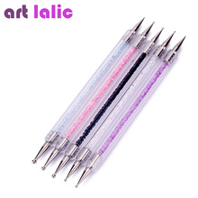 5Pcs Set UV Gel Painting Nail Art Dotting Pen Acrylic Handle Rhinestones Crystal 2 Way Brush Salon Decoration Manicure Tools Kit